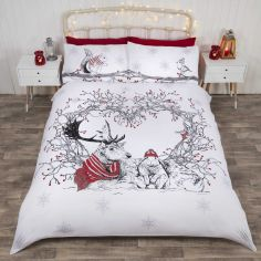 Stag & Friends Glitter Christmas Duvet Cover Set - Red