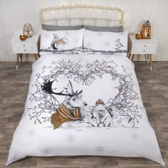 Stag & Friends Glitter Christmas Duvet Cover Set - Gold