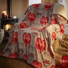 Boden Hearts Christmas Supersoft Blanket Fleece Throw
