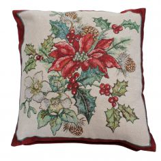 Poinsettia Christmas Cushion Cover