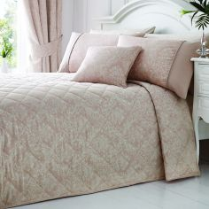 Luxury Laurent Jacquard Quilted Bedspread - Rose Pink