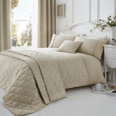 Ebony Floral Quilted Cotton Rich Bedspread - Natural