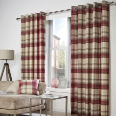 Belvedere Woven Brushed Check Fully Lined Eyelet Curtains - Red