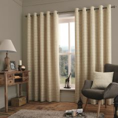 Savannah Linen Fully Lined Eyelet Ring Top Curtains - Natural Cream
