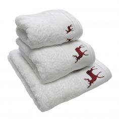 Reindeer Stag 100% Cotton Supersoft Christmas Towel - White Red