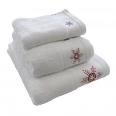 Snowflake 100% Cotton Supersoft Christmas Towel - White Red