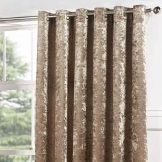 Kensington Crushed Velvet Fully Lined Eyelet Door Curtain - Champagne Gold Natural