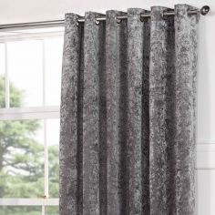 Kensington Crushed Velvet Fully Lined Eyelet Door Curtain - Silver Grey