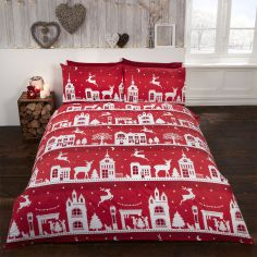 Reindeer Road Christmas Thermal Flannelette Duvet Cover Set - Red