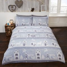 Reindeer Road Christmas Thermal Flannelette Duvet Cover Set - Silver Grey
