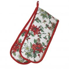 Christmas Poinsettia Double Oven Glove - Red