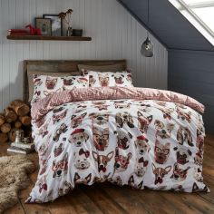 Catherine Lansfield Dapper Dogs Reversible Duvet Cover Set - Multi