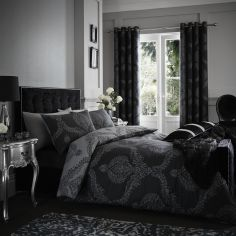 Catherine Lansfield Damask Jacquard Reversible Duvet Cover Set - Black