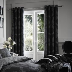 Catherine Lansfield Damask Jacquard Fully Lined Eyelet Curtains - Black