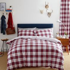 Catherine Lansfield Henley Check Reversible Duvet Cover Set - Red & White