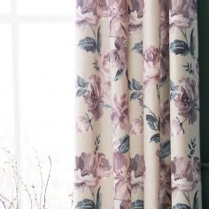 Catherine Lansfield Painted Floral Fully Lined Eyelet Curtains - Plum Purple