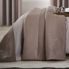 Catherine Lansfield Ombre Ribbed Bands Bedspread - Natural