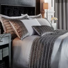 Catherine Lansfield Corded Velvet Band Duvet Cover Set - Silver Grey