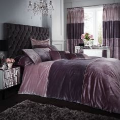 Catherine Lansfield Velvet Bands Duvet Cover Set - Heather Pink