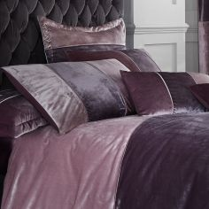 Velvet Bands Pair of Pillowshams - Heather Pink