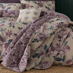 Painted Floral Reversible Quilted Bedspread - Plum Purple