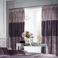 Velvet Bands Fully Lined Tape Top Curtains - Heather Pink