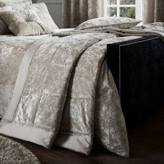 Catherine Lansfield Luxury Crushed Velvet Bedspread - Natural Cream
