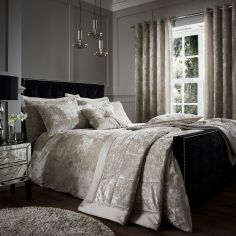 Catherine Lansfield Luxury Crushed Velvet Duvet Cover Set - Natural Cream