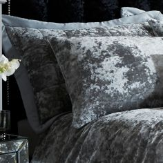 Luxury Crushed Velvet Pair of Pillowshams - Silver Grey