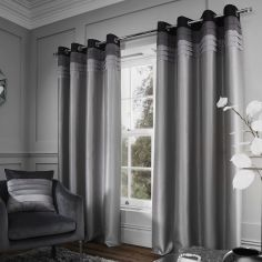Catherine Lansfield Chicago Faux Silk Lined Eyelet Curtains - Grey