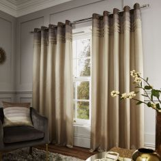 Catherine Lansfield Chicago Faux Silk Lined Eyelet Curtains - Natural