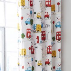 Catherine Lansfield Transport Colourful Lined Eyelet Curtains