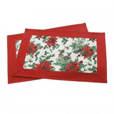 Poinsettia Christmas Placemat - Red