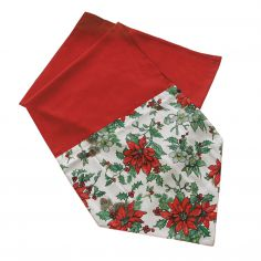 Poinsettia Christmas Table Runner - Red