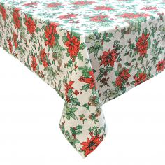 Poinsettia Christmas Tablecloth - Red