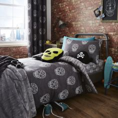 Skulls Reversible Duvet Cover Set - Grey