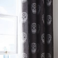 Catherine Lansfield Skulls Cotton Rich Lined Eyelet Curtains - Grey