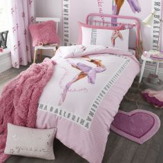 Ballerina Reversible Kids Duvet Cover Set - Pink