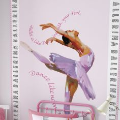 Catherine Lansfield Ballerina Pink Wall Art for Kids Bedroom