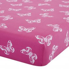 Catherine Lansfield Butterfly Pink Fitted Sheet