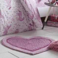 Catherine Lansfield Heart Shaped Rug for Kids Pink