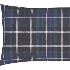 Catherine Lansfield Tartan Check Flannelette Pillowcases - Navy