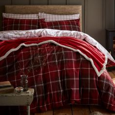 Catherine Lansfield Tartan Check Reversible Flannelette Duvet Cover Set - Red