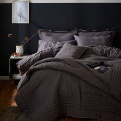 Catherine Lansfield Blanket Stitch Flannelette Duvet Cover Set - Grey