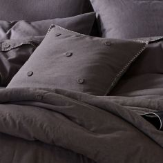 Catherine Lansfield Blanket Stitch Flannelette Cushion Cover - Grey