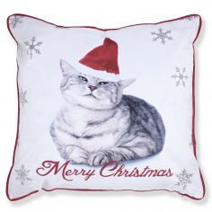 Merry Christmas Cat Cushion Cover