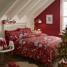 Catherine Lansfield Festive Happy Christmas Flannelette Duvet Cover Set