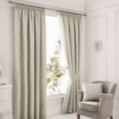 Luxury Laurent Jacquard Fully Lined Tape Top Curtains - Silver