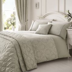 Luxury Laurent Jacquard Quilted Bedspread - Silver