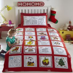 Advent Christmas Colouring in Quilt Duvet Cover Set with FREE Washable Marker Pens